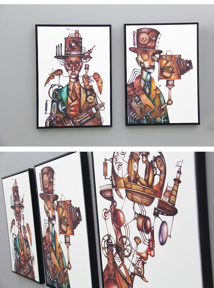 机械工业风现代简约客厅三联装饰画餐厅挂画办公室画图片